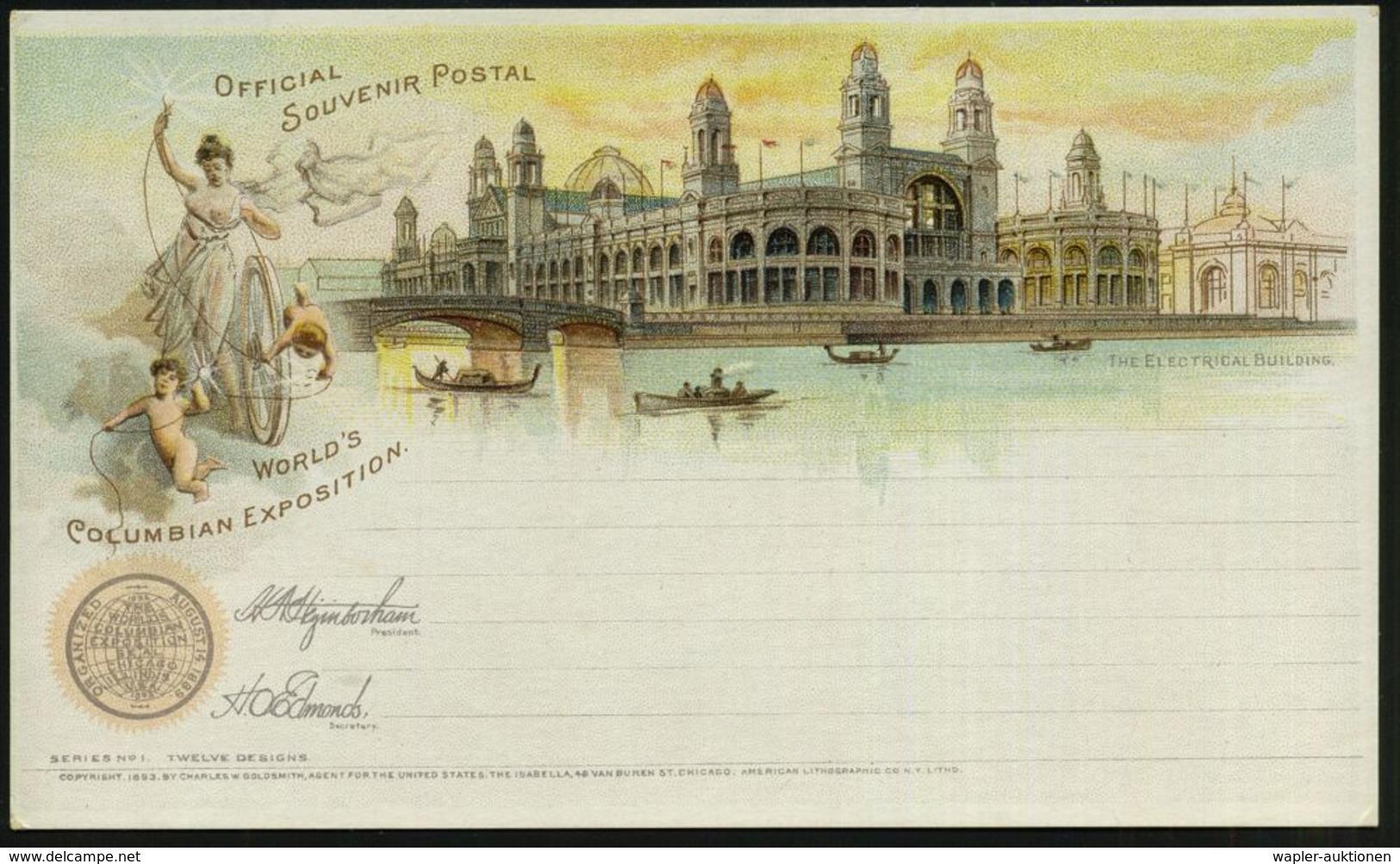 "U.S.A. 1893 PP 1 C. Grant Schw.: WORLD'S COLUMBIAN EXPOSITION, The Electrial Building (allegor. Frau ""Elektrizität"" Mit  - Unclassified"