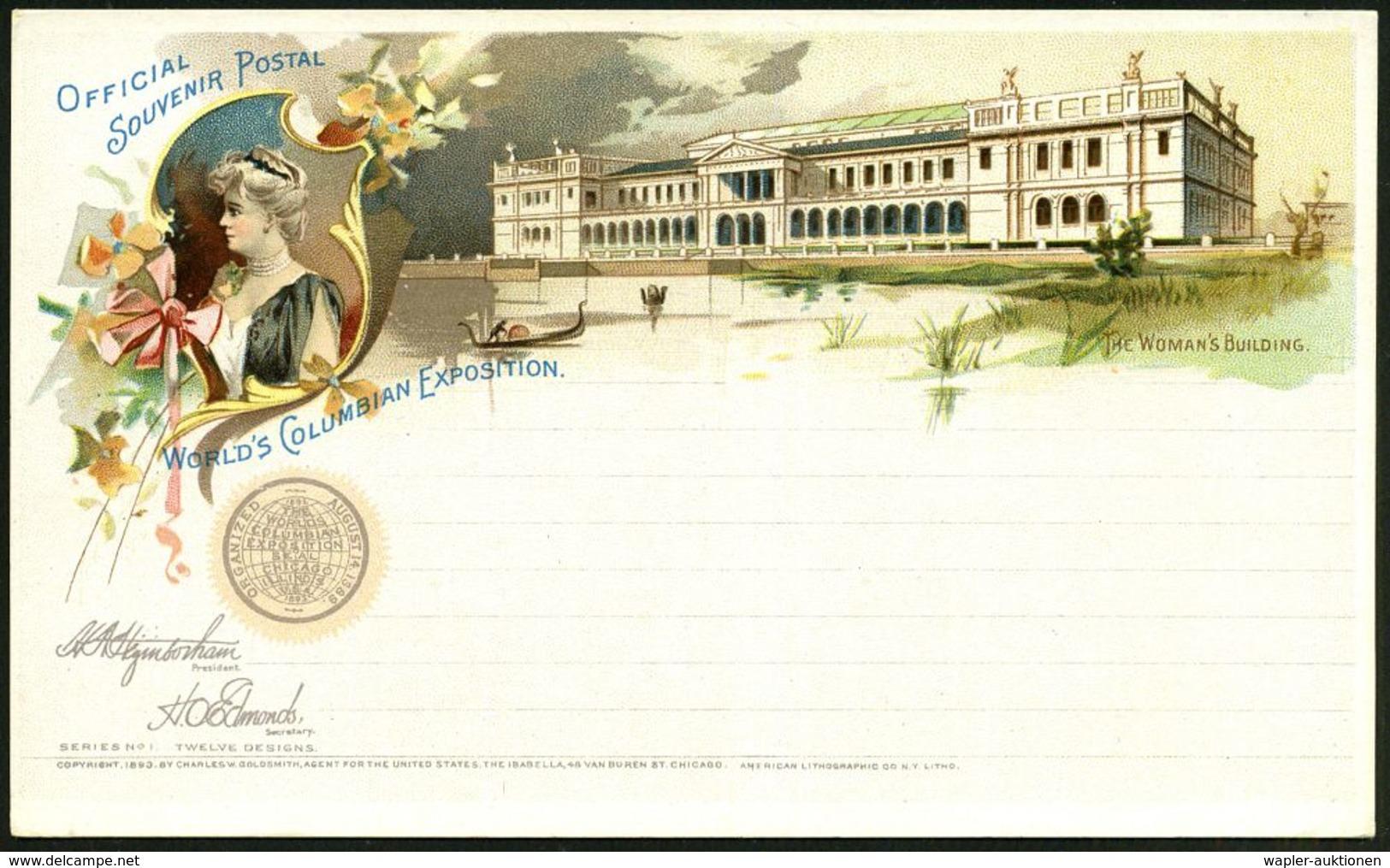 U.S.A. 1893 PP 1 C. Grant, Schw.: WORLD'S COLUMBIAN EXPOSITION (Weltausstellung Zum Columbus-Jubiläum) = THE WOMAN's BUI - Universal Expositions