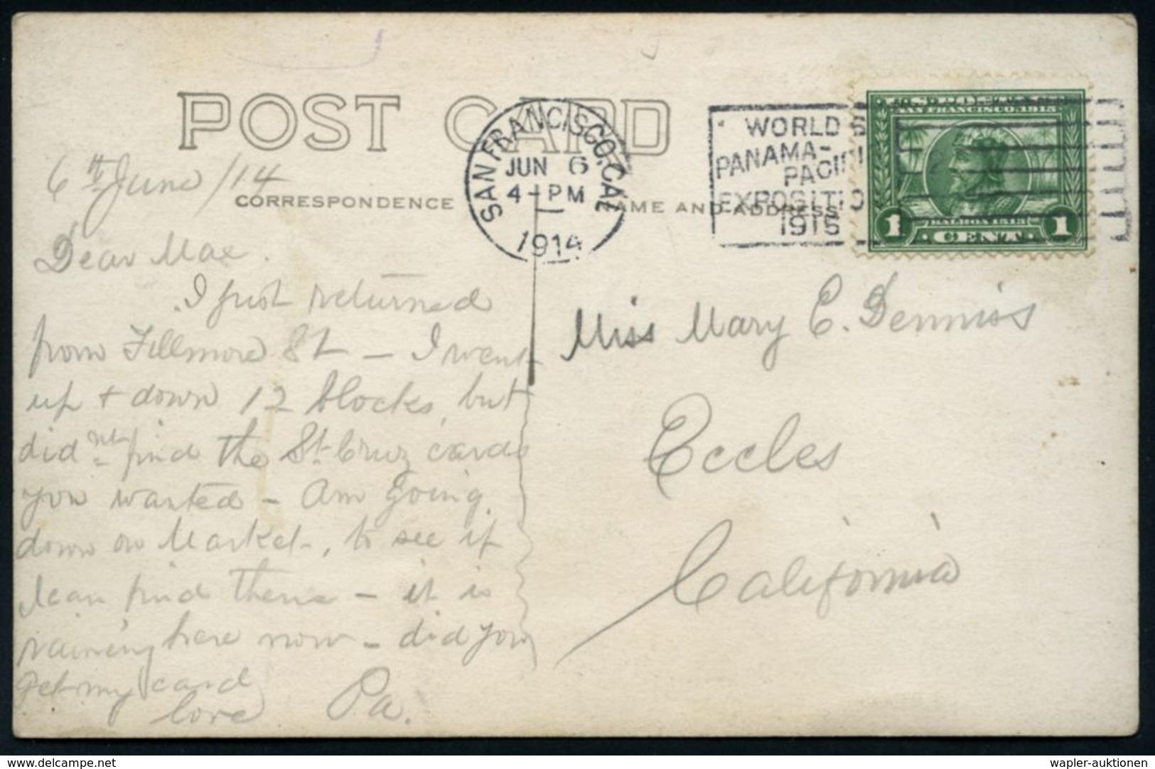 U.S.A. 1914 (6.6.) Flaggen-MWSt.: SAN FRANCISCO, CAL/ WORLD'S/PANAMA PACIFIC/EXPOSITION/1915 Auf Passender EF 1 C. Panam - Universal Expositions