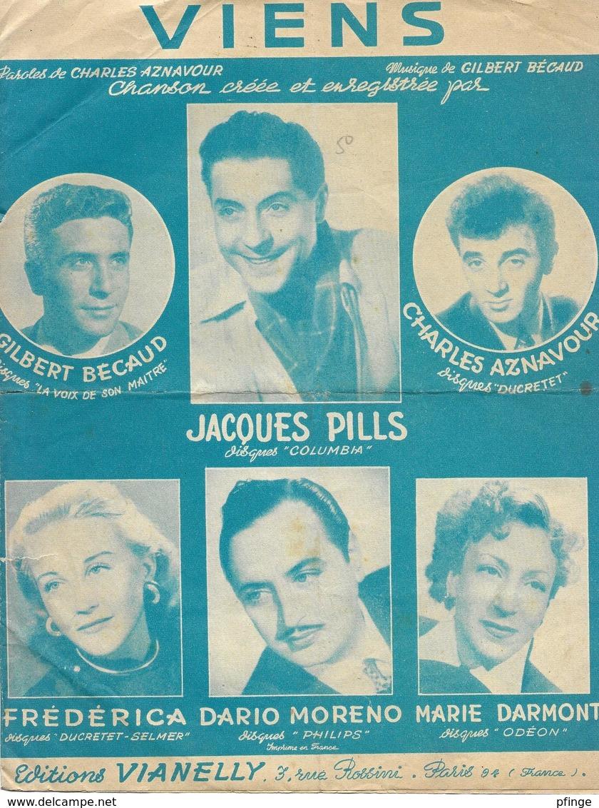 Viens - Gilbert Bécaud, Charles Aznavour, Jacques Pills...(p: Charles Aznavour - M: Gilbert Bécaud), 1952 - Non Classés