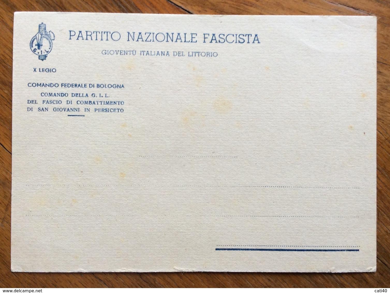 FASCISMO  FASCIO COMBATTIMENTO DI S.GIOVANNI IN PERSICETO  CARTOLINA NUOVA - Documenti Storici