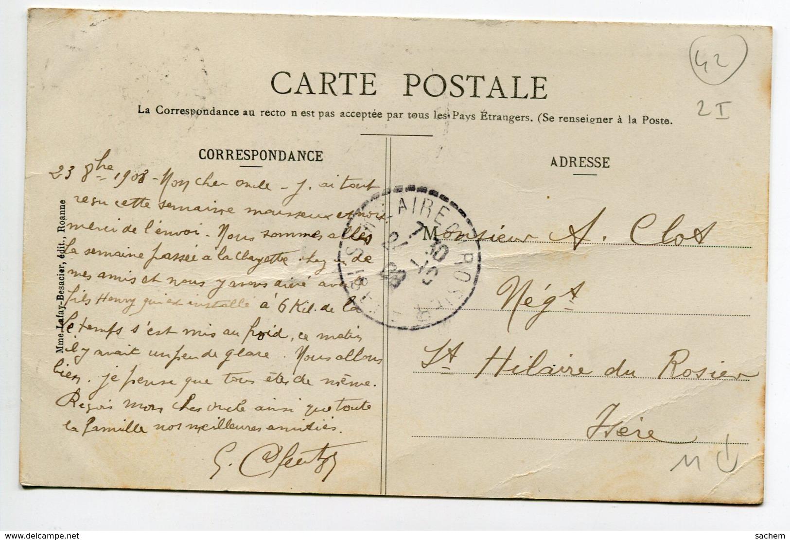42 PINAY La Digue Pendant Inondations Du 10 Octobre 1907 écrite Timbrée    D08 2019 - Autres Communes