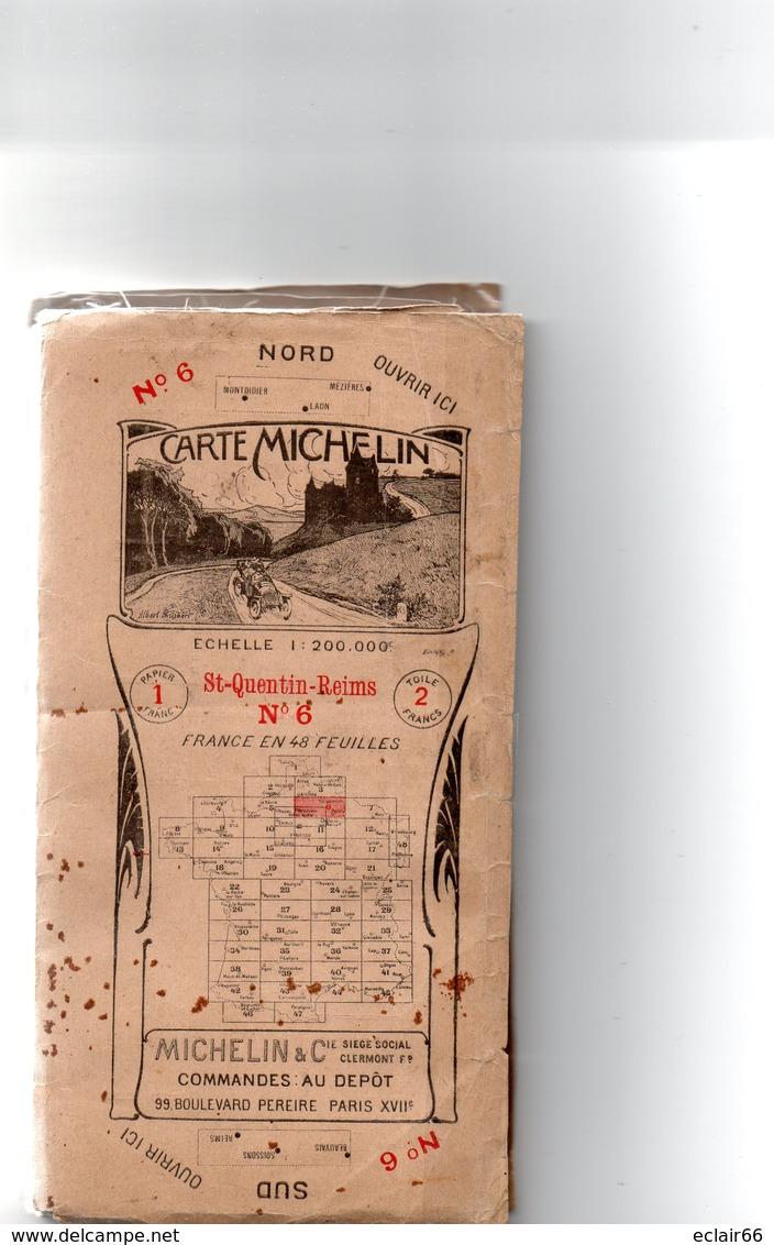 CARTE MICHELIN De LA FRANCE. N° 6. Saint-Quentin-Reims Du Nord Au Sud Toilée. 1914-1918 VOIR SCANNES - Cartes Routières