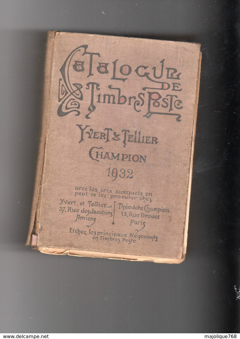 Catalogue De Timbres-poste Yvert & Tellier Champion 1932. - Frankrijk
