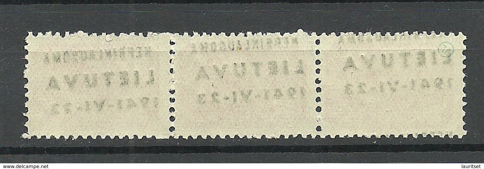 LITAUEN Lithuania 1941 German Occupation Michel 8 As 3-stripe ERROR VARIETY Abart MNH - Litauen
