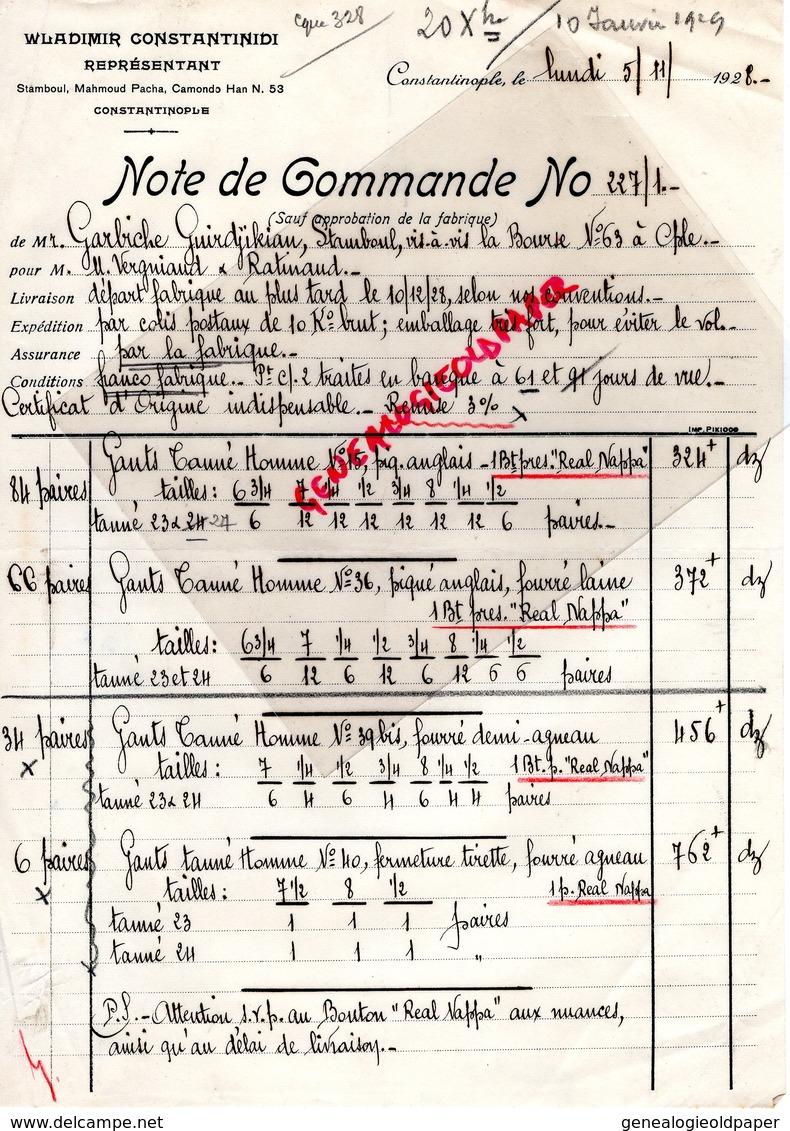 87- SAINT JUNIEN-GANTERIE VERGNIAUD RATINAUD-TURQUIE WLADIMIR CONSTANTINIDI-CONSTANTINOPLE-GARBICHE GUIRDJIKIAN STAMBOUL - Factures & Documents Commerciaux
