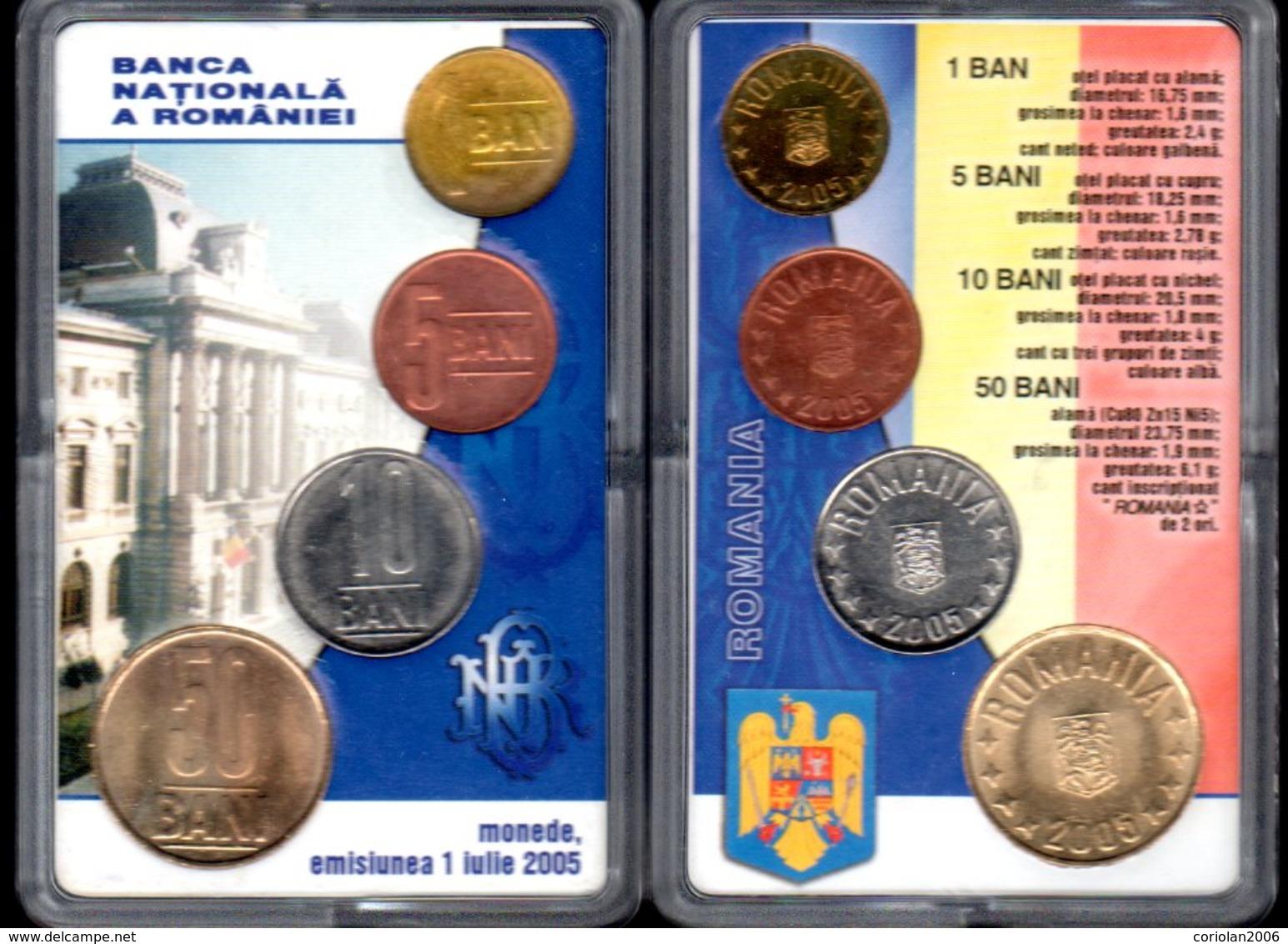 Official Set BNR 1+5+10+50 BANI 2005 / UNC - Rumänien