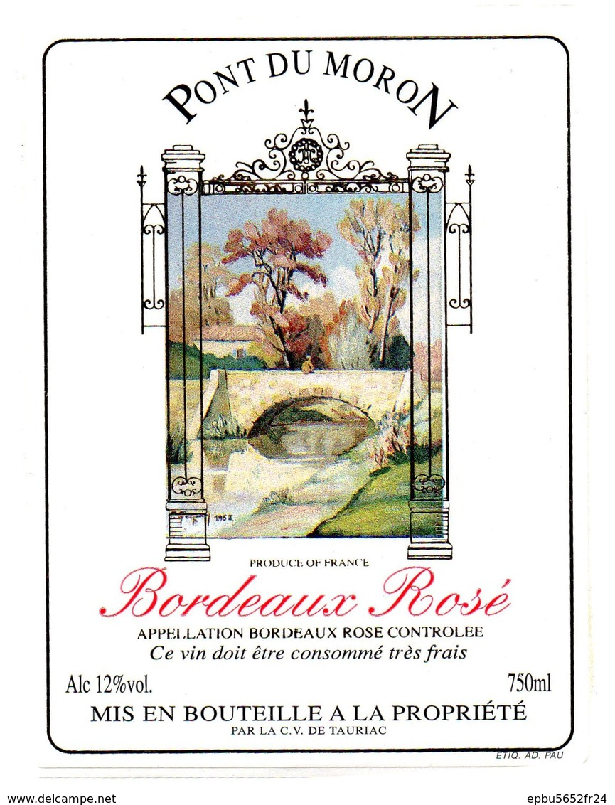 Etiquette (9X12) PONT DU MORON  Bordeaux Rosé - Bordeaux
