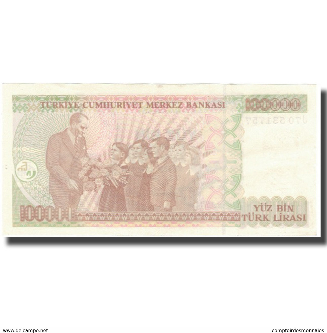 Billet, Turquie, 100,000 Lira, L.1970, 1998, KM:206, TTB - Turquie