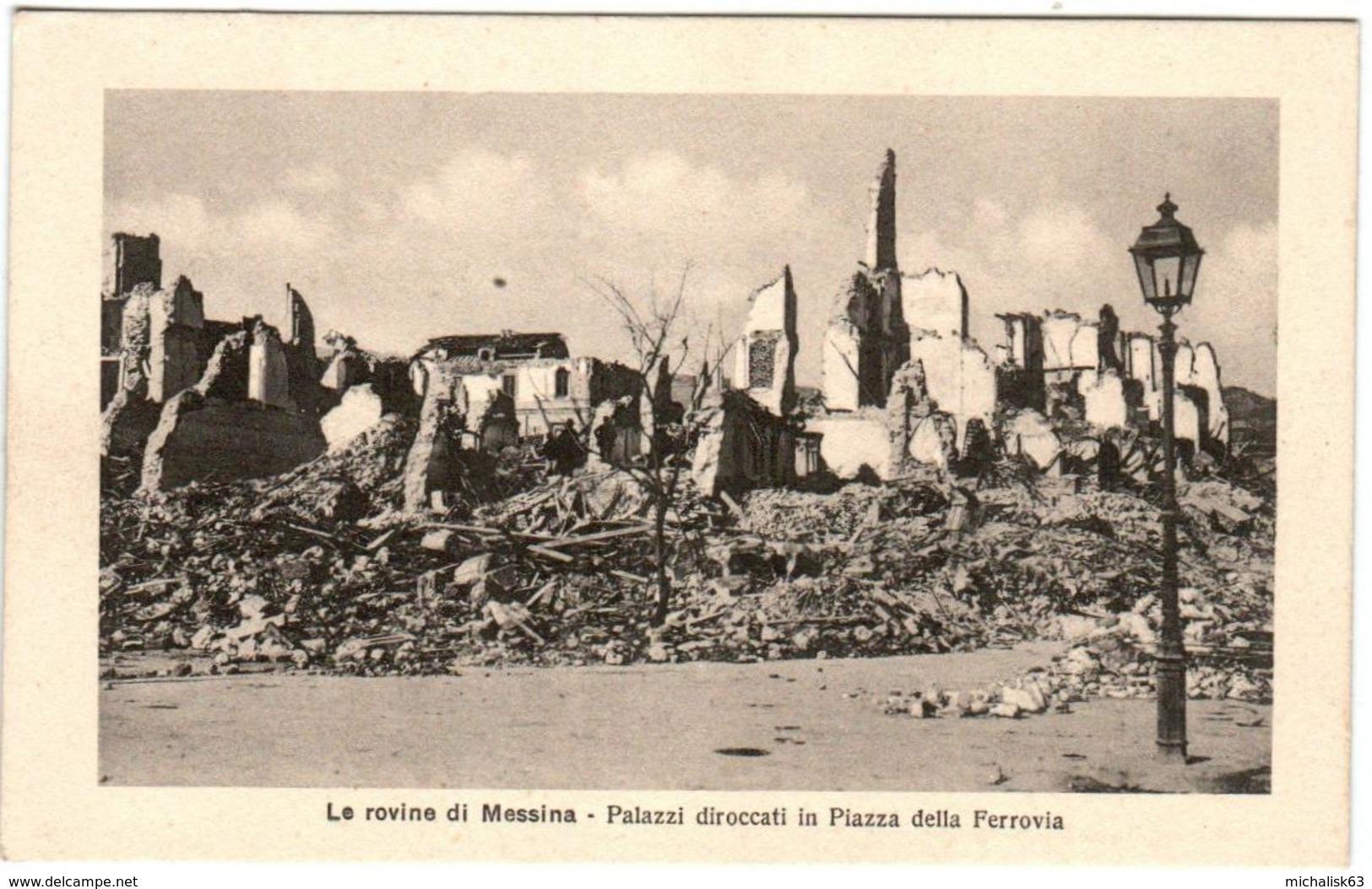 6ZL 926 CPA - LE ROVINE DI MESSINA - PALAZZI DIROCCATI LA PIAZZA DELLA FEROVIA - Messina