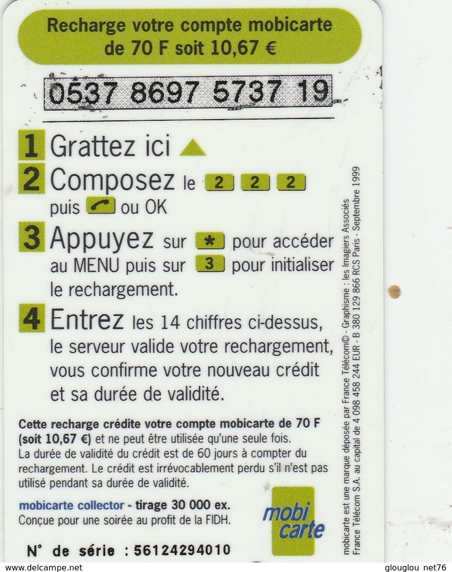 MOBICARTE...RECHARGE 70...TOUS LES HOMMES DANSENT LIBRES ET EGAUX - France