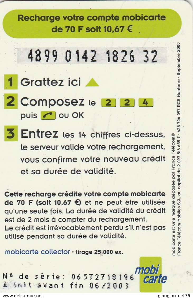 MOBICARTE...RECHARGE 70...INFOPUCE - Mobicartes (recharges)