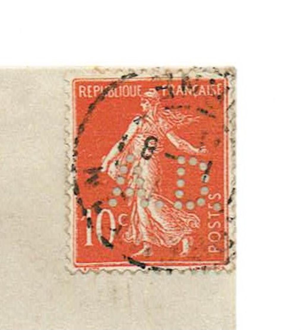 10 Centimes  Semeuse Rouge  Perforée A D  ( A.derome) Sur Carte Postale ( Usage Peu Courant) Datée 1907.TB état. - Marcophilie (Lettres)