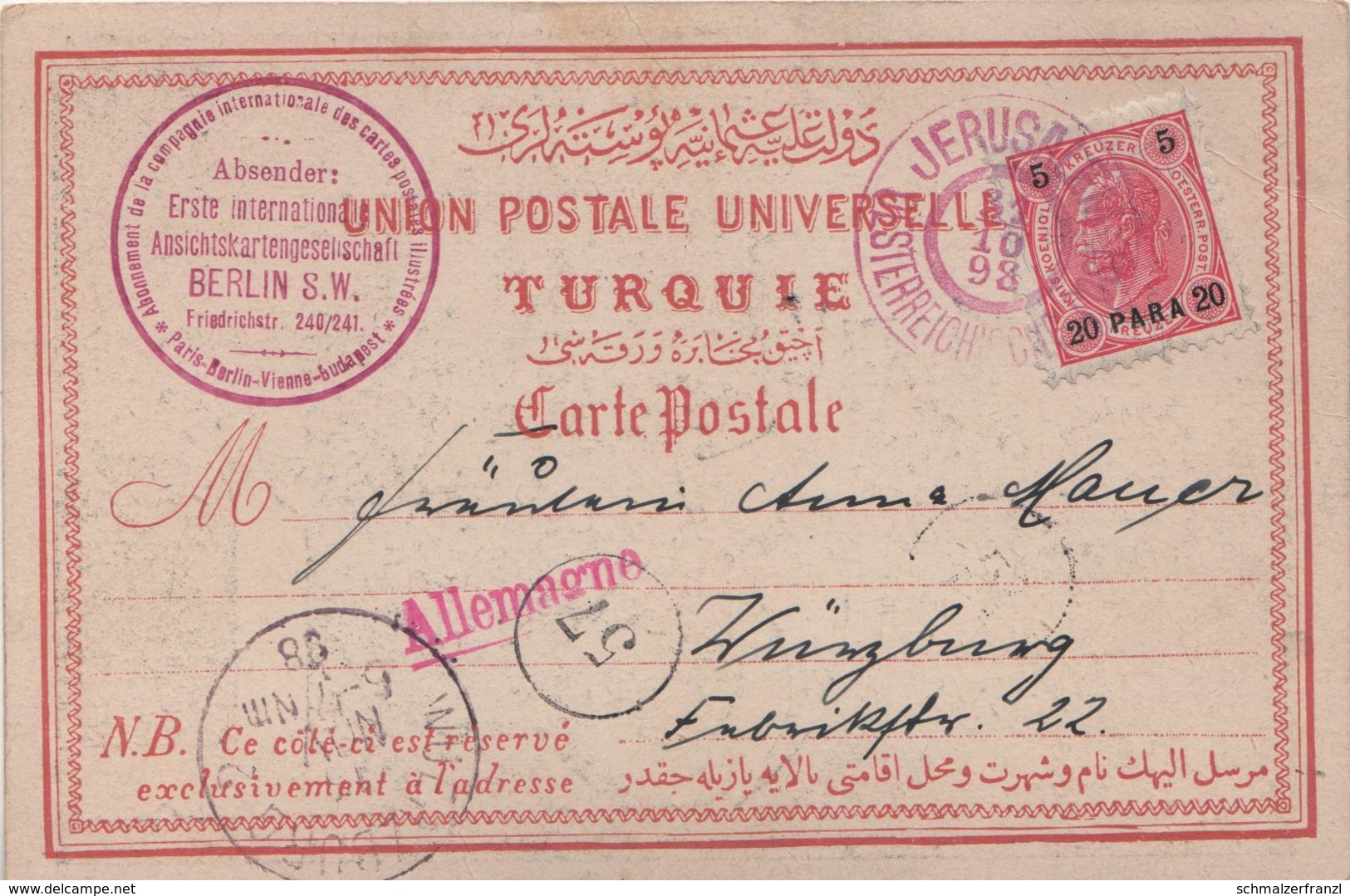 Litho AK Jerusalem ירושלים Al Quds القدس 1898 Jesus Österreichische Post Briefmarke 20 Para Israel Palästina Palestine - Israel