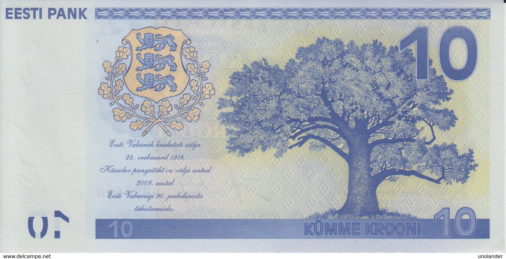 ESTONIA 10 Krooni P 90 Commemorative 2008 90th Ann Of Independence UNC - Estonia
