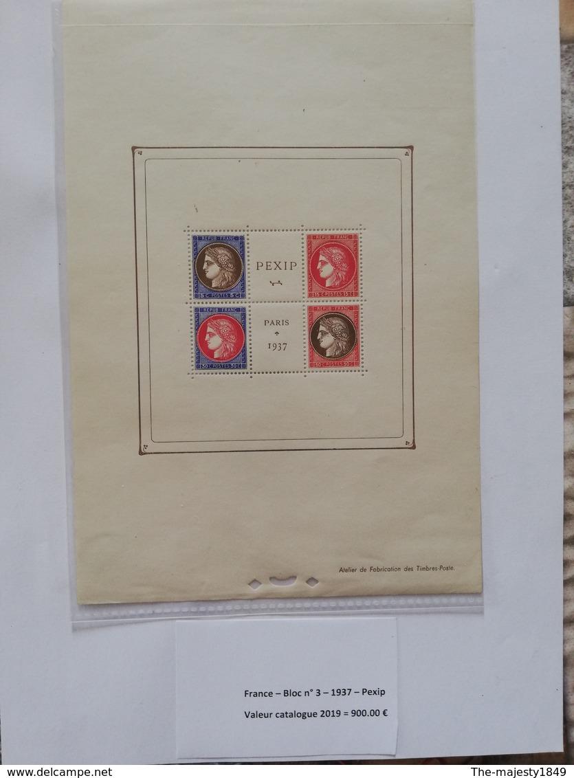 Bloc-Feuillet N°3, Exposition Paris PEXIP 1937, Neuf ** TB Valeur Catalogue 2019  = 900.00 € - Neufs