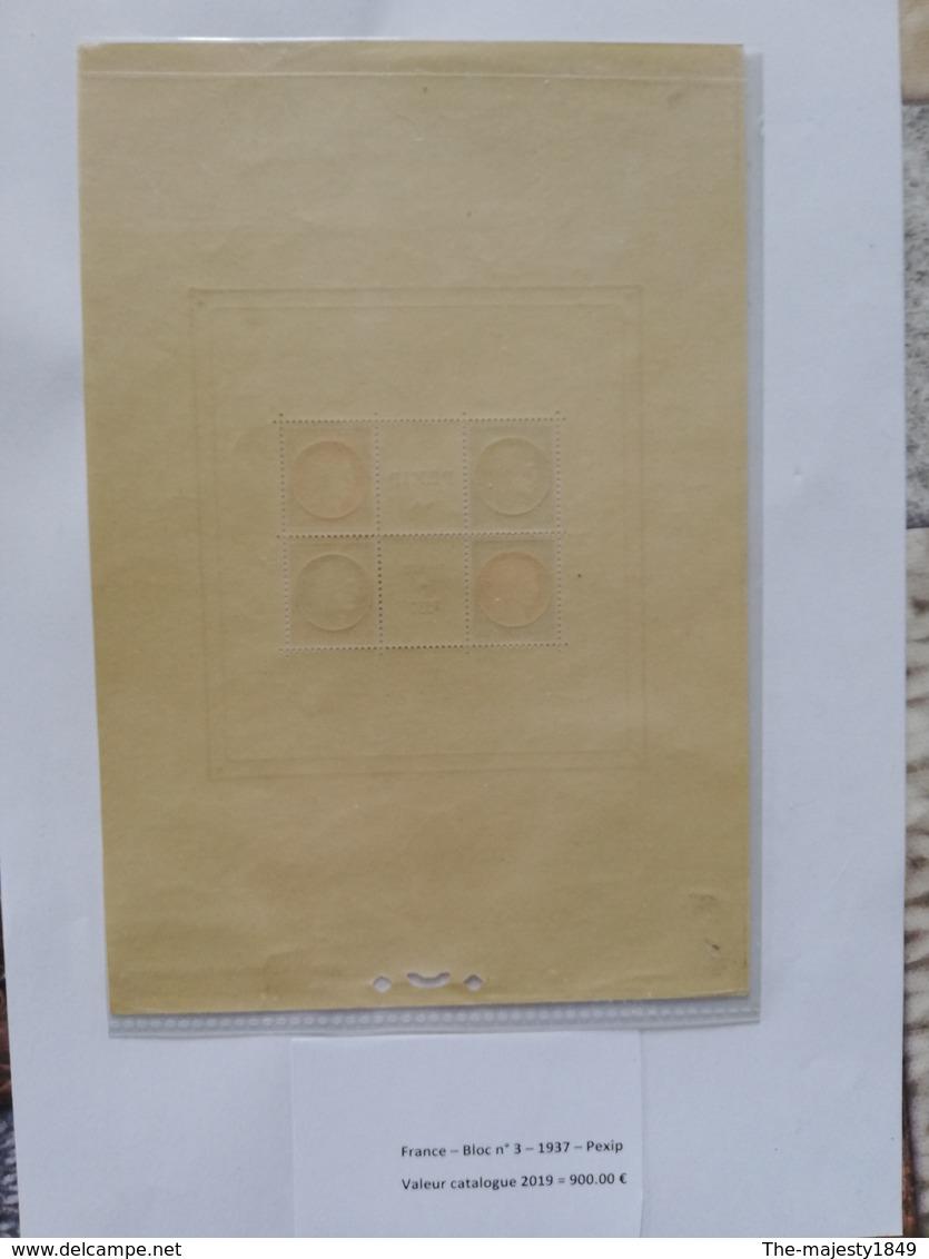Bloc-Feuillet N°3, Exposition Paris PEXIP 1937, Neuf ** TB Valeur Catalogue 2019  = 900.00 € - Blocs & Feuillets