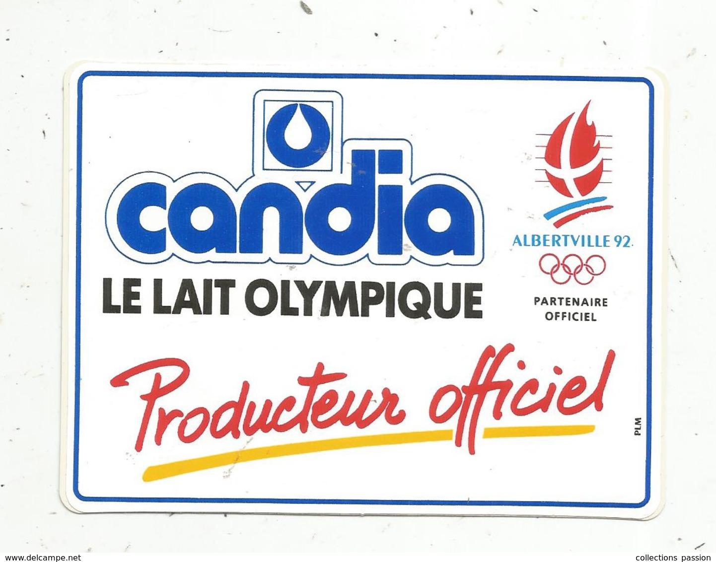 Autocollant , SPORTS , Albertville 1992, CANDIA ,  Producteur Officiel ,le Lait Olympique - Pegatinas