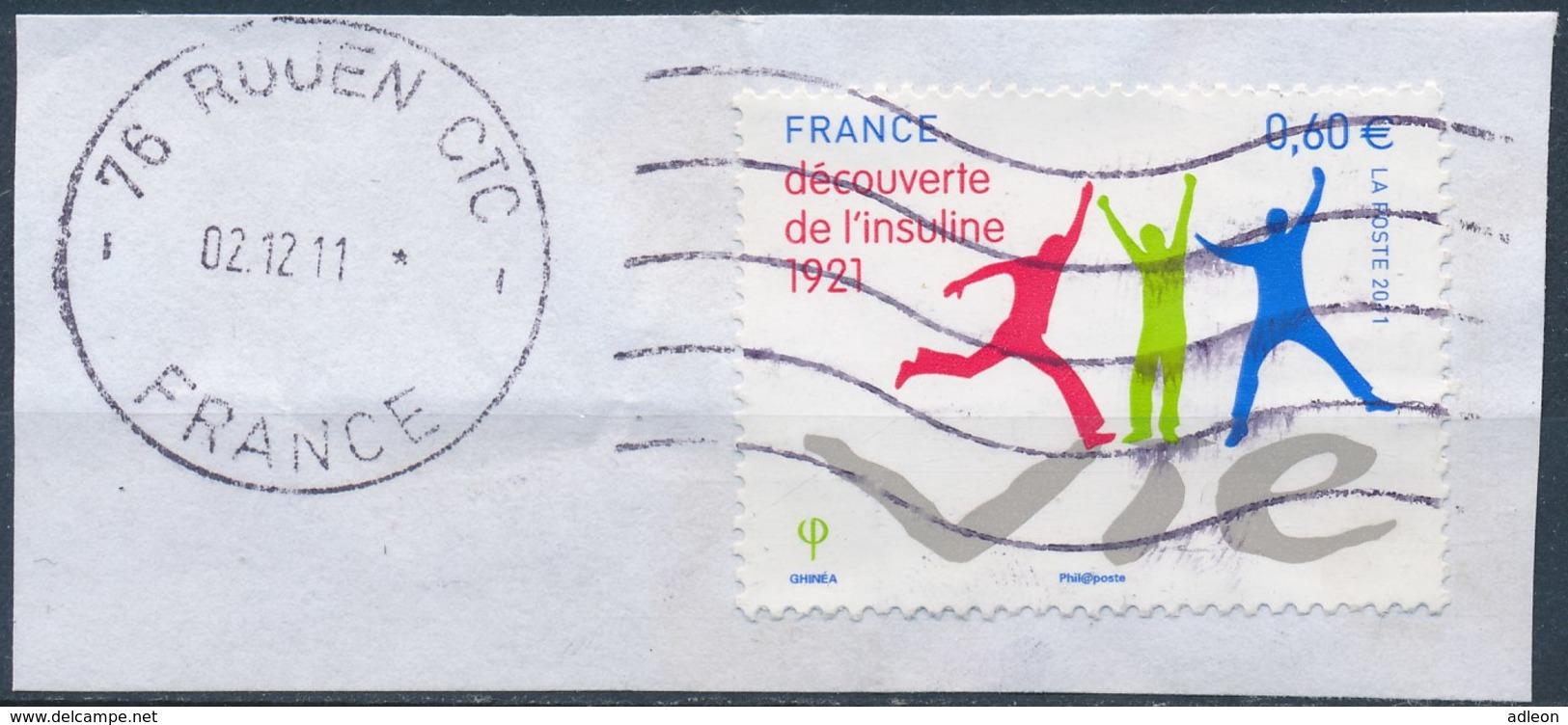 France - Découverte De L'Insuline YT 4630 Obl. Ondulations + Dateur Sur Fragment - Oblitérés