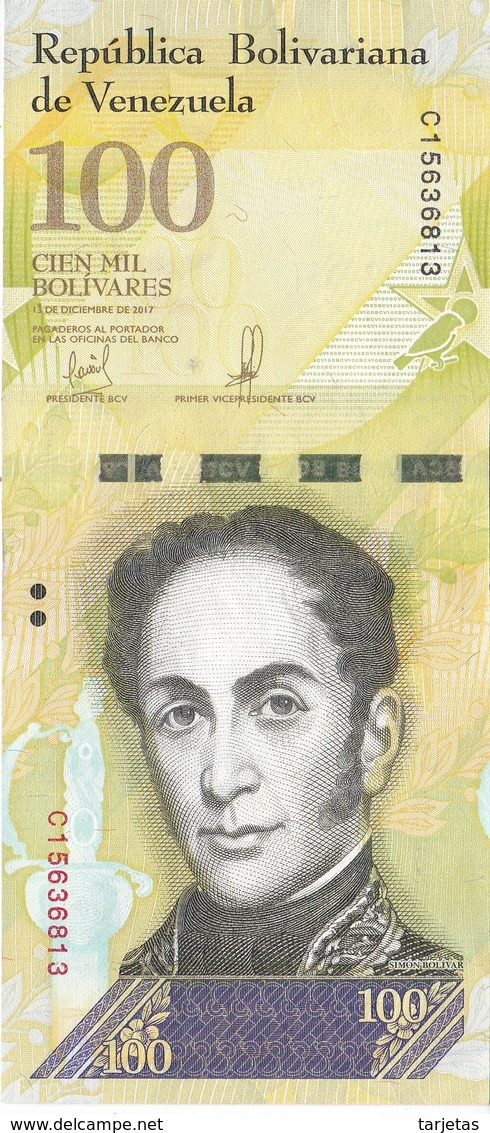 BILLETE DE VENEZUELA DE 100000 BOLIVARES 13 DE DICIEMBRE DEL 2017 EN CALIDAD EBC (XF)   (BANK NOTE) PAJARO - Venezuela