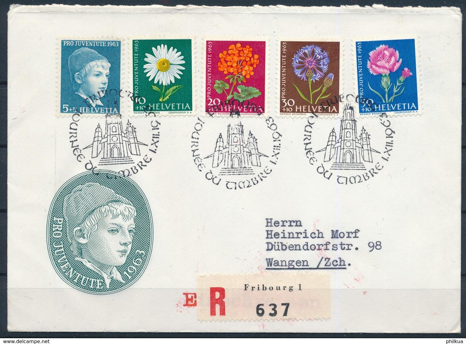 1963 JOURNÉE DU TIMBRE Mit Pro Juventute Frankatur - FRIBOURG - Pro Juventute