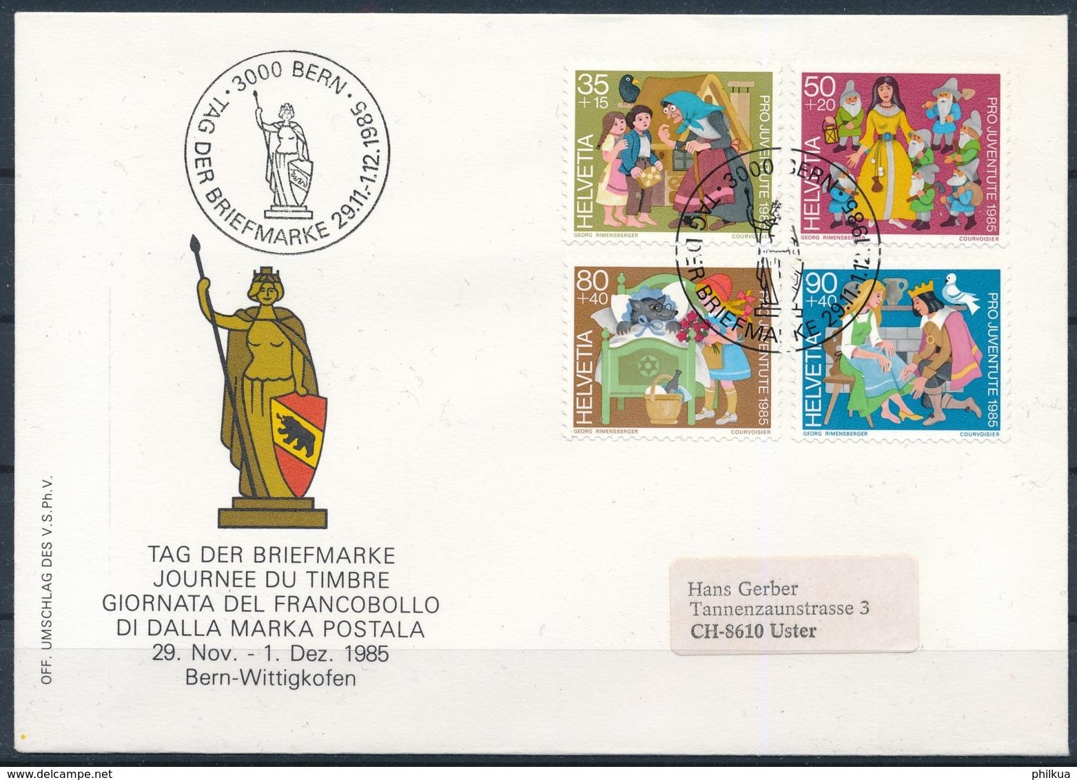 1985 TAG DER BRIEFMARKE  Mit Pro Juventute Frankatur - BERN - Lettres & Documents