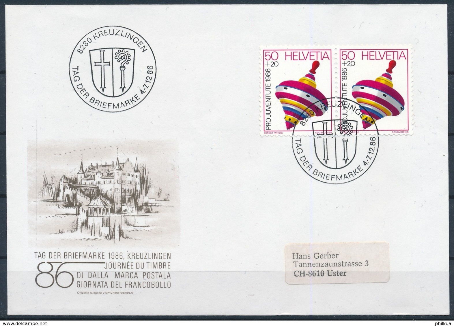 1986 TAG DER BRIEFMARKE  Mit Pro Juventute Frankatur - KREUZLINGEN - Pro Juventute