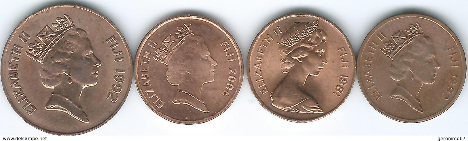 Fiji - 1 Cent - 1981 (KM39); 1992 (KM49a); 2006 (KM49b); 2 Cents - 1992 (KM50a) - Fidji