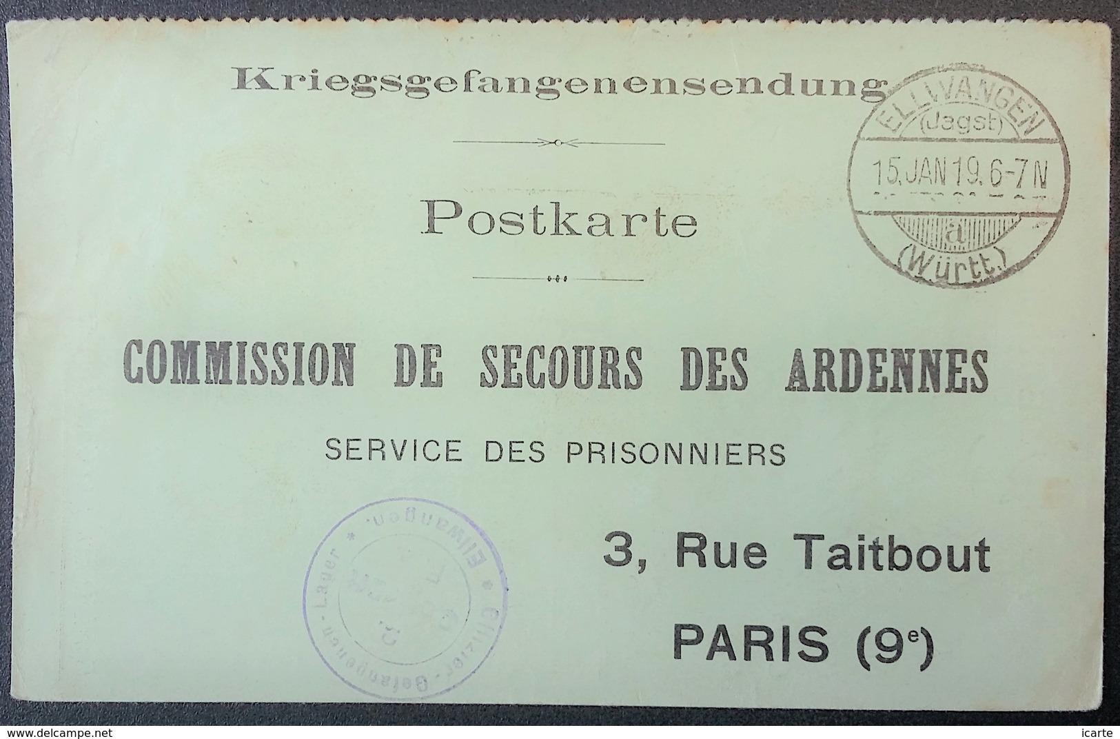 CP Comité De Secours Des ARDENNES PRISONNIER DE GUERRE Camp De ELLWANGEN Janv 1918 Accusé-réception COLIS - 1. Weltkrieg 1914-1918