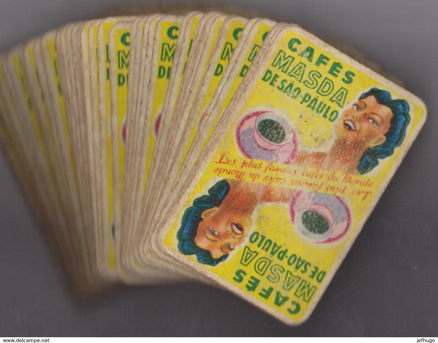 """JEU DE 52 CARTES . COMPLET . PUBLICITE """"CAFES MASDA DE SAO PAULO. LES PLUS FAMEUX CAFES DU MONDE - Jeux De Société"""