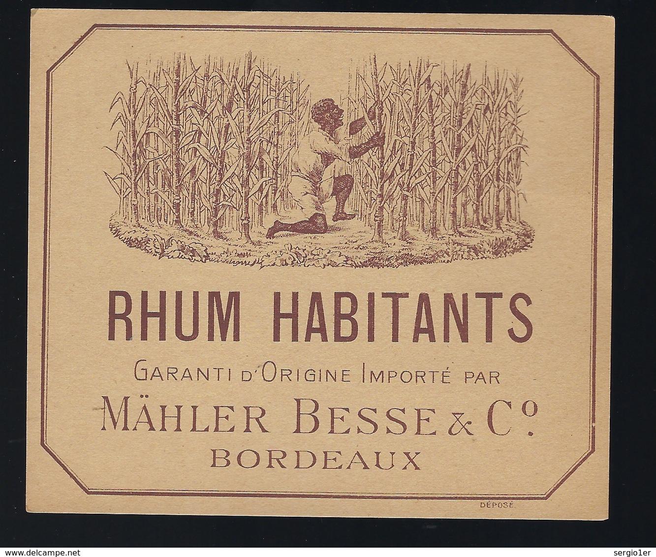 """étiquette  Rhum Habitants Garantie D'origine Importé Par Malher Besse & C° Bordeaux """" La Récolte"""" - Rhum"""