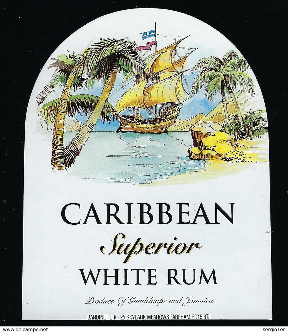 """étiquette  Rhum Blanc Supérieur Caribbean Guadeloupe Et Jamaïque Bardinet """"bateaux"""" - Rhum"""