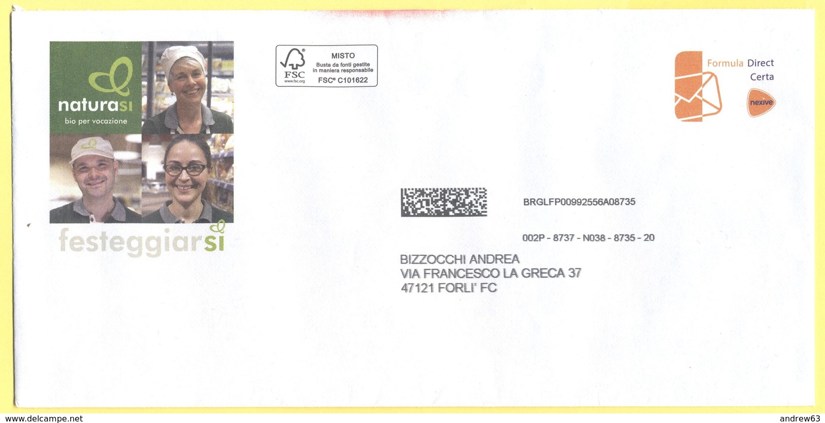 ITALIA - ITALY - ITALIE - 2019 - Formula Direct Certa Nexive - NaturaSì - Viaggiata Per Forlì - 2011-...: Storia Postale