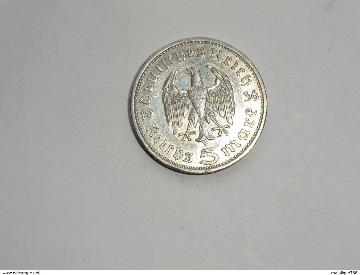 Monnaie De Germanie - 5 Reichsmark -maréchal Paul Von Hindenburg 1936 Argent Lettre A En TTB+ - 5 Reichsmark