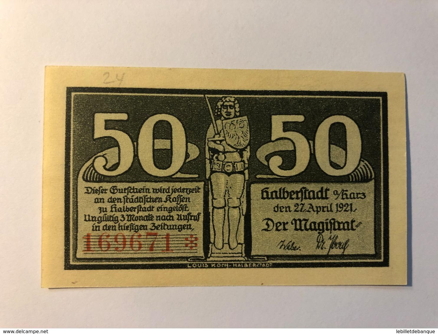 Allemagne Notgeld Halberstadt 50 Pfennig - [ 3] 1918-1933 : République De Weimar