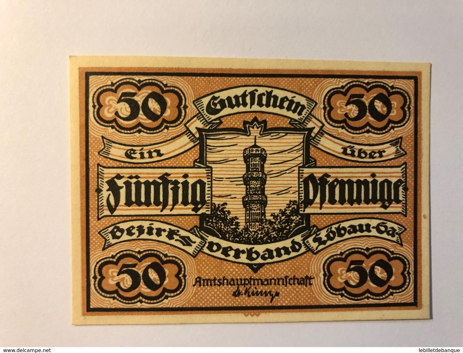 Allemagne Notgeld Lobau 50 Pfennig - [ 3] 1918-1933 : République De Weimar