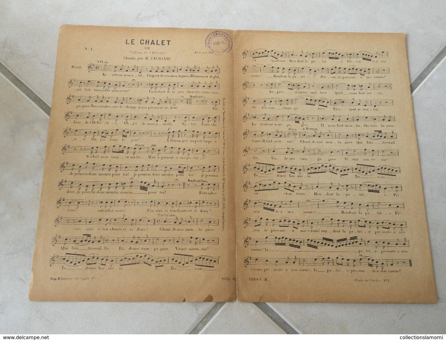 Le Chalet (Chanté Par Mr Inchindi-(Paroles )-(Musique C. Saint Saëns)Partition - Opéra