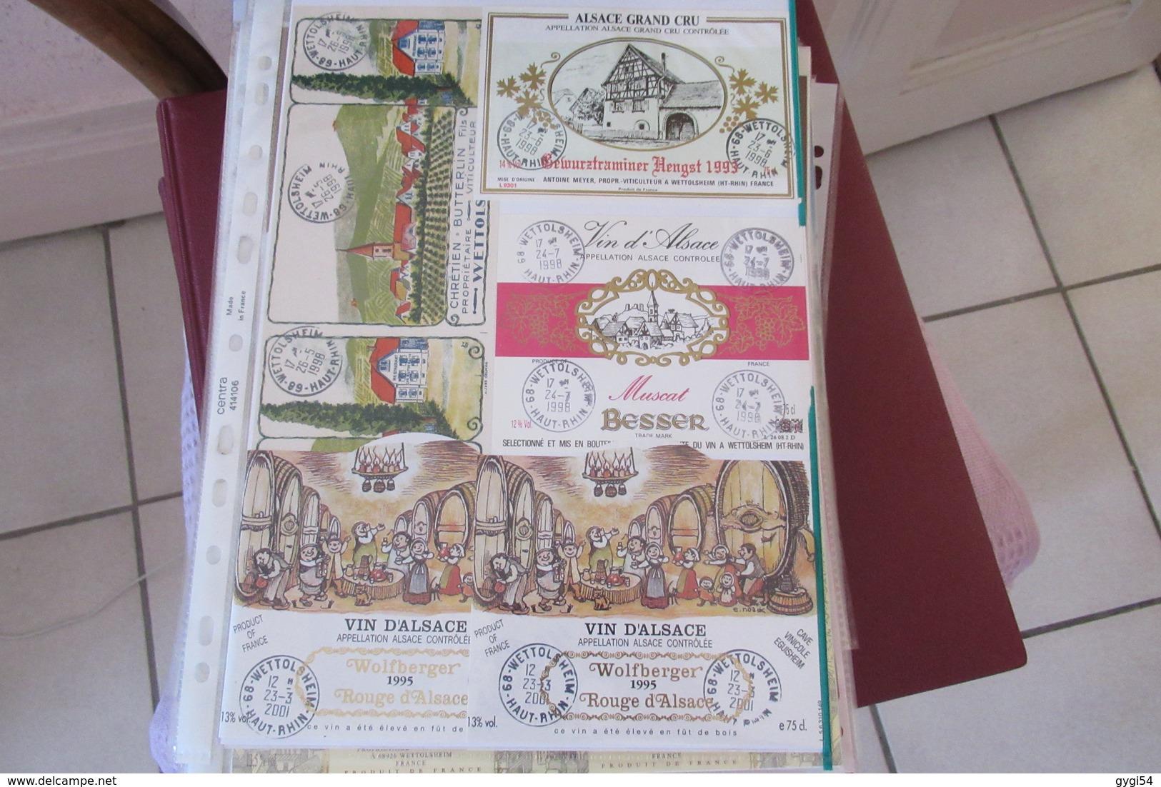 324    Etiquettes   De Vins  Vins D' Alsace Rouge Et Blanc - Collections, Lots & Séries