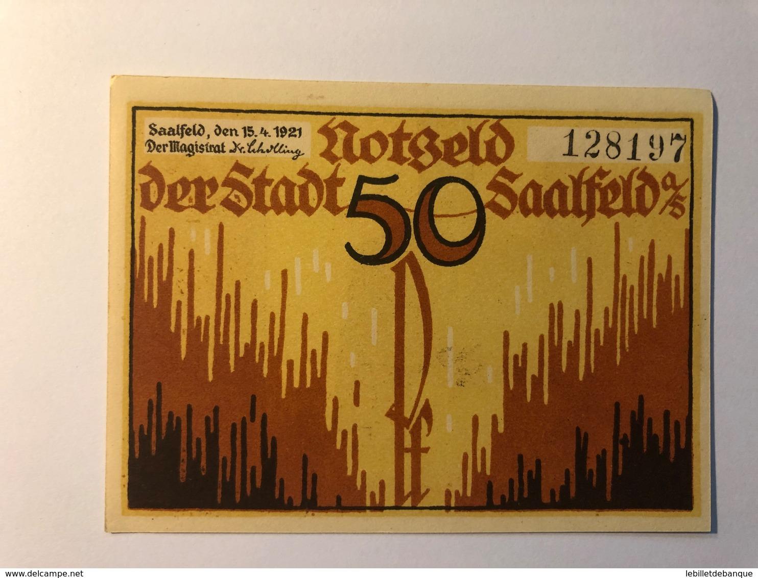 Allemagne Notgeld Saalfeld 50 Pfennig - [ 3] 1918-1933 : République De Weimar