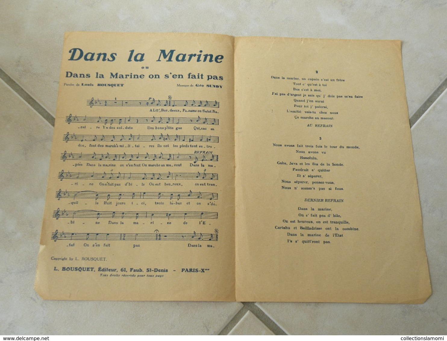 Dans La Marine (du Film En Bordée)-(Paroles Louis Bousquet)-(Musique Géo Sundy)Partition - Musique & Instruments