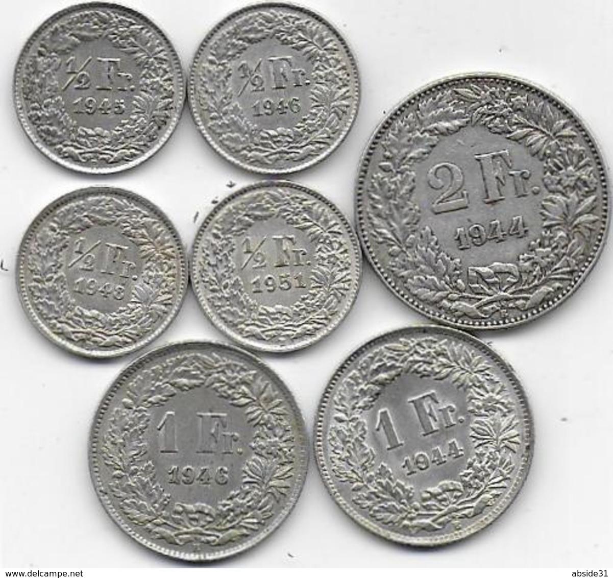 SUISSE - 7 Pièces - 1/2 Fr 1945 - 1946 - 1948 - 1951 - 1Fr 1944 - 1946 - 2 Fr 1944 - Suisse