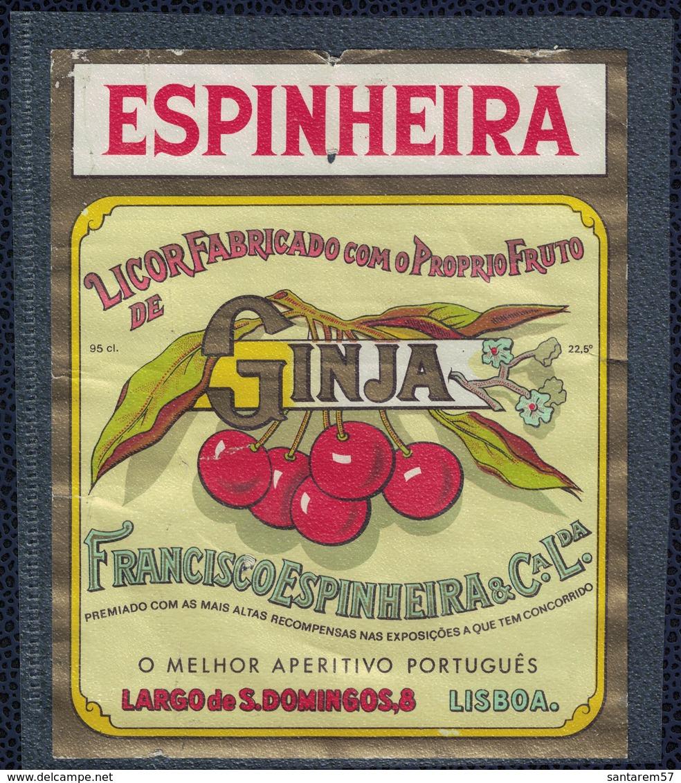 Portugal Très Ancienne Etiquette Espinheira Licor De Ginja Liqueur De Cerise Griotte - Etiquettes