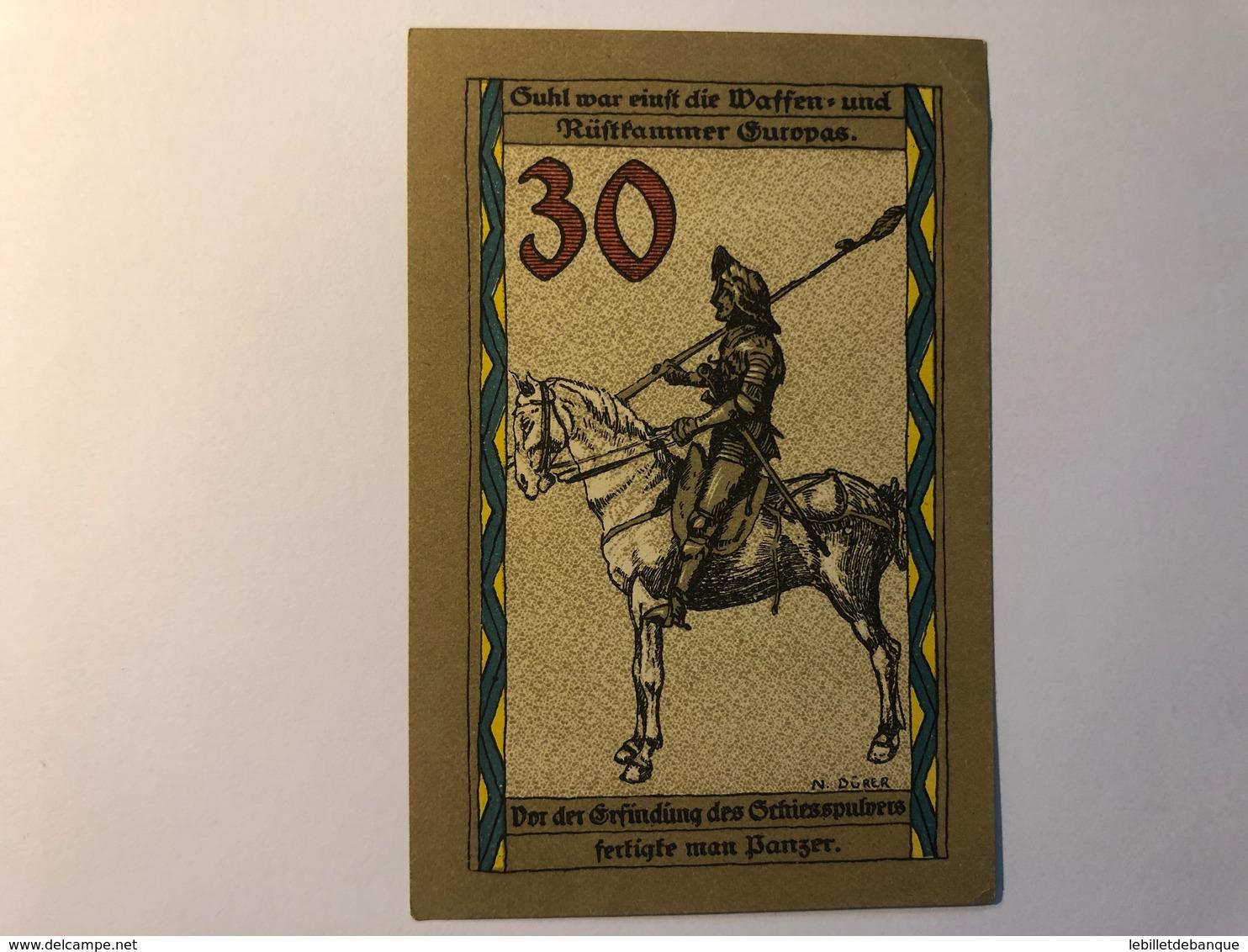 Allemagne Notgeld Suhl 30 Pfennig - [ 3] 1918-1933 : République De Weimar