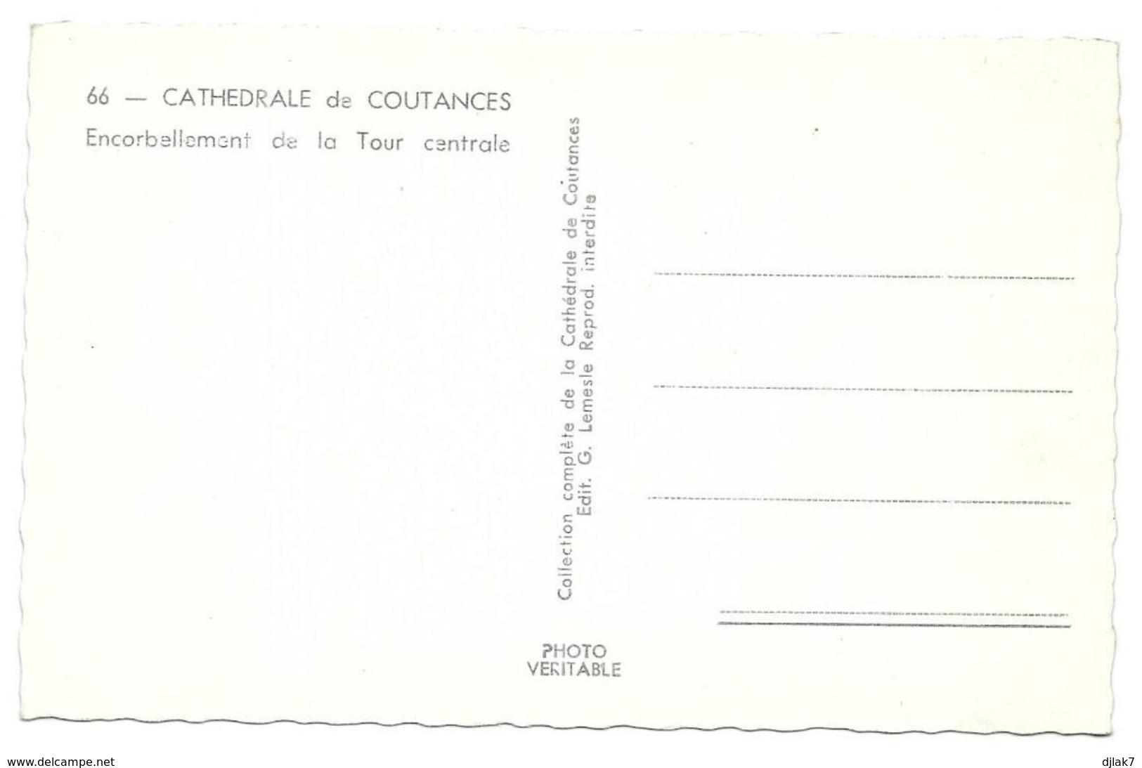 50 Cathédrale De Coutances Encorbellement De La Tour Centrale (2 Scans) - Coutances
