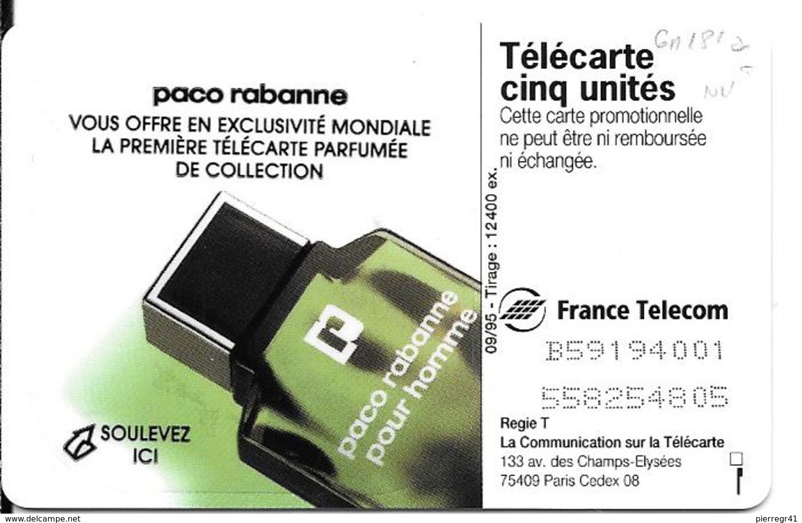 CARTE°-PRIVEE-5U-09/95-GN181a-GEMB-PACO  RABANNE-VERSO PARFUME-NEUVE-T BE-LUXE-RARE - France