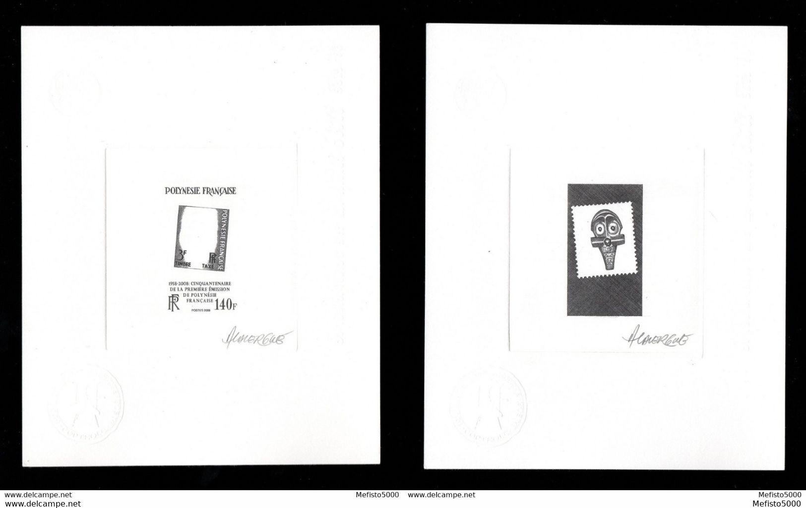 Polynesie Taxe 2 1ère émission, 2 épreuves D'artiste De Décomposition, Signé. Artist Signed Proofs. 2 SCANS Mask, Masque - Polinesia Francese