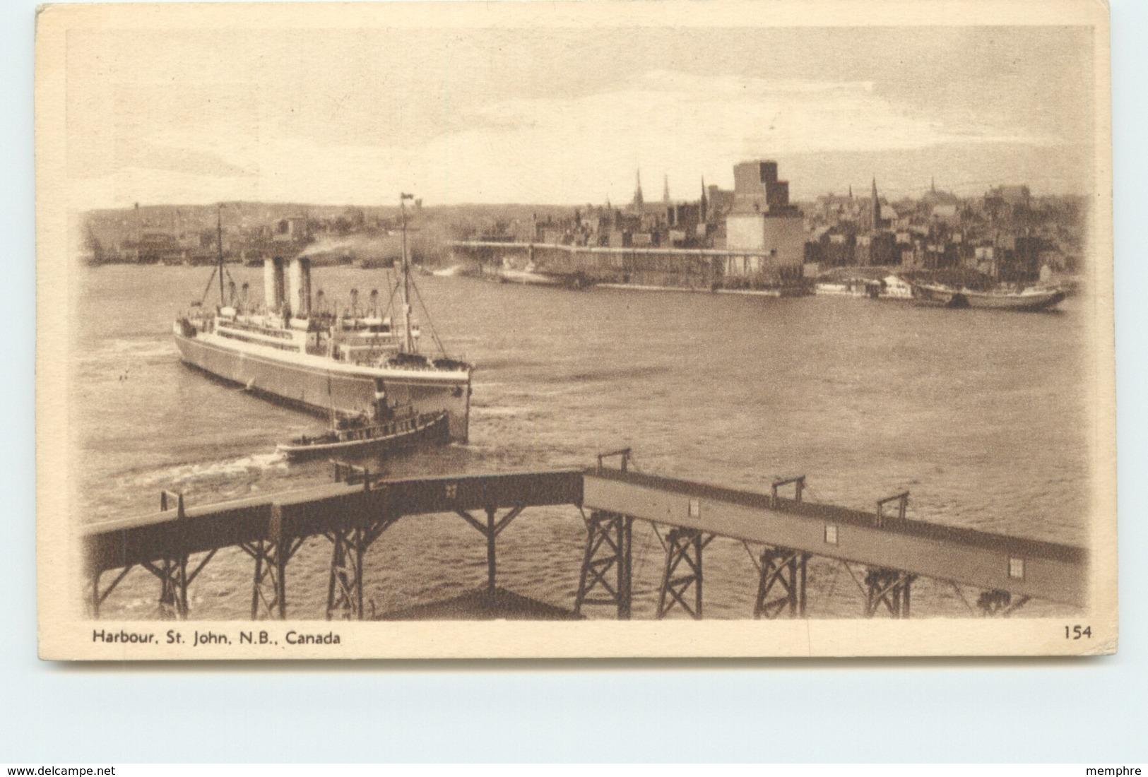 1932 Sepia View Card - Harbour St John NB # 154 Unused - 1903-1954 Kings