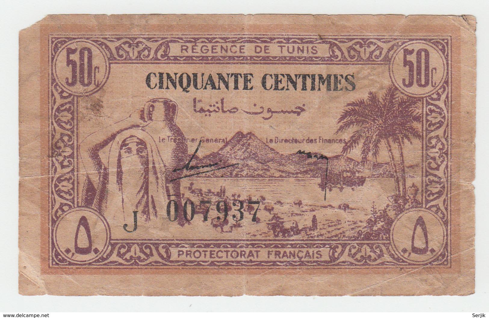 TUNISIA 50 CENTIMES 1943 G-VG PICK 54 - Tunisia