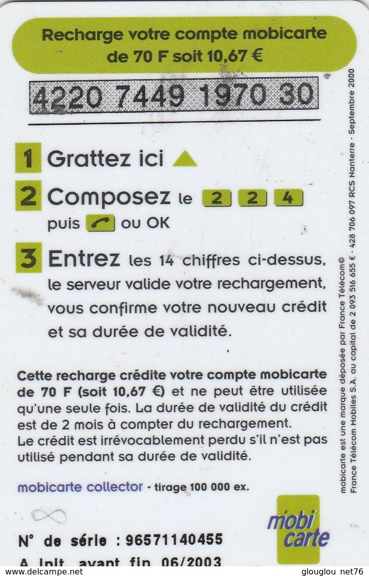 MOBICARTE  RECHARGE 70 - Mobicartes (recharges)