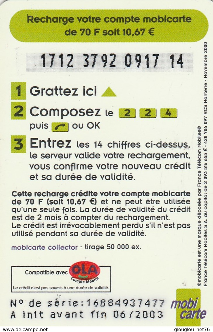 MOBICARTE  RECHARGE 70...KIWEE - Mobicartes (recharges)